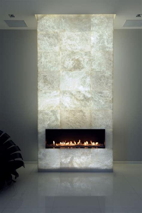 bright backlit alabaster fireplace  wonderful