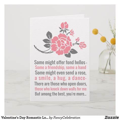 Valentine's Day Romantic Love Poem for Sweetheart Card ...