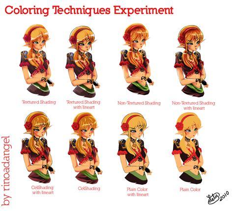 coloring techniques experiment  rinoadangel  deviantart