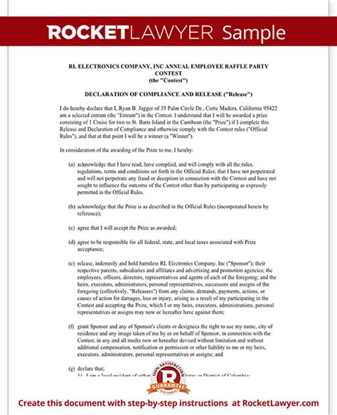 Declaration Document Template by Declaration Of Compliance And Release For Contest