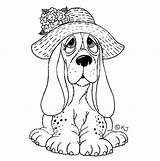 Coloring Pages Dog Hound Basset Adult Kleurplaten Stamps Colouring Animal Sad Santoro Sheets Gorjuss Perros Dibujos Easy Dogs Puppy Puppies sketch template
