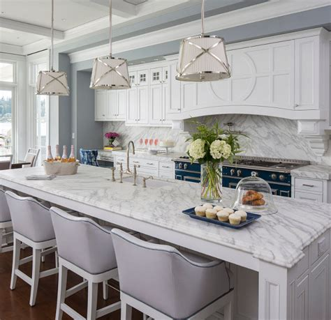 classic white kitchen traditional coastal home with classic white kitchen home 974 | White classic kitchen with white marble countertop and white marble slab backsplash