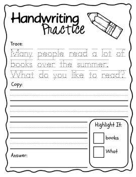 Summer Writing & Handwriting Packet, Kindergarten & First Grade Tpt