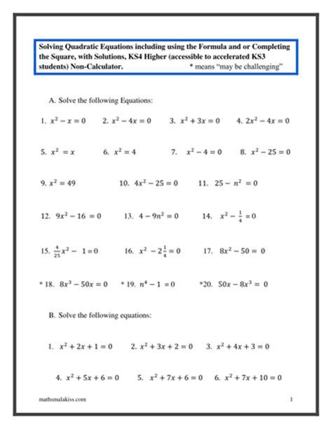 quadratic formula worksheet pdf breadandhearth