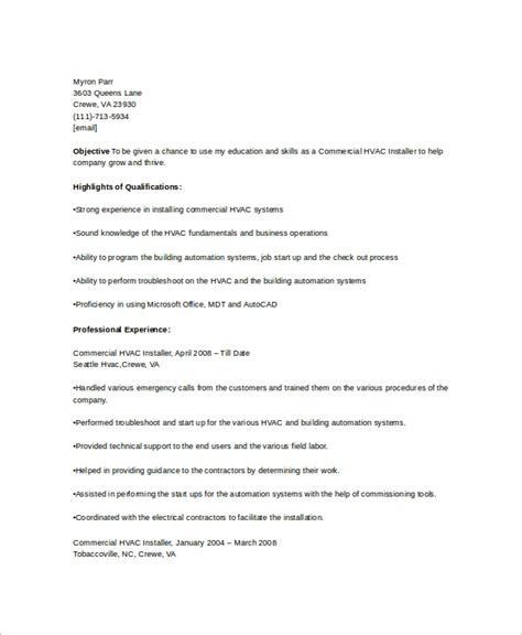 Hvac Resume Template by Free 6 Hvac Resume Templates In Word Pdf