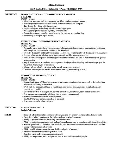 Automotive Service Advisor Resume Samples  Velvet Jobs