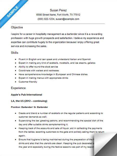 bartender resume sample resume examples resume resume