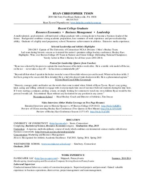 Two Page Resume For Fair by Tyson Two Page Resume
