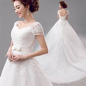 famous 2016 elegant white lace backless large tail wedding With elegant short white wedding dress