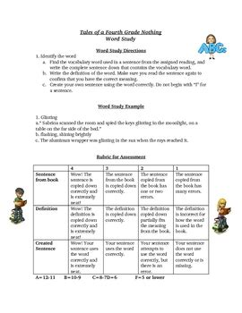 tales of a fourth grade nothing spelling vocabulary activity by wise guys