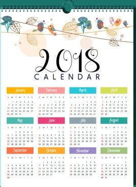 calendar template bright multicolored modern design vector