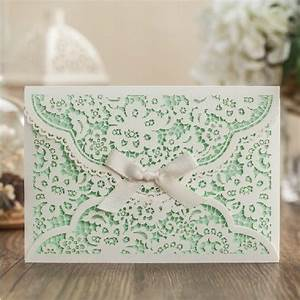 mint white flower wedding invitation envelope ribbon With laser cut wedding invitations minted