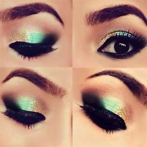 Verde dorado y negro | Maquillaje y manicura | Pinterest