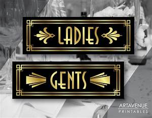 Art Deco Ladies and Gents Printable Signs Gatsby Wedding