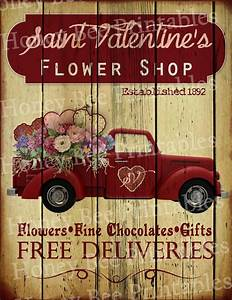 Primitive Valentine Flower Shop Old Red Truck Holiday Folk