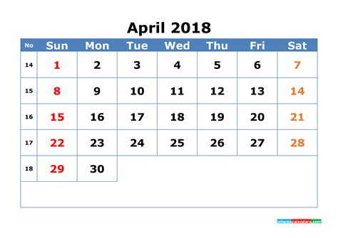 April 2018 Calendar With Week Numbers Printable