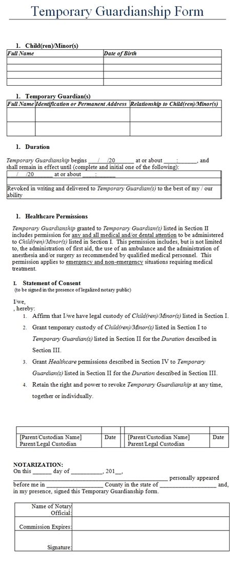 20842 temporary guardianship forms temporary guardianship form template my board