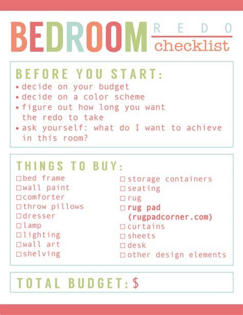 Bedroom Makeover Checklist room redo checklist best rug pads