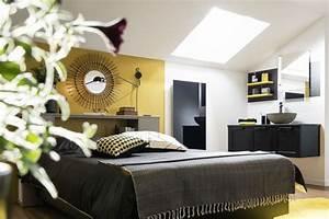 suite parentale avec salle de bain nos idees amenagement With carrelage adhesif salle de bain avec applique tete de lit led