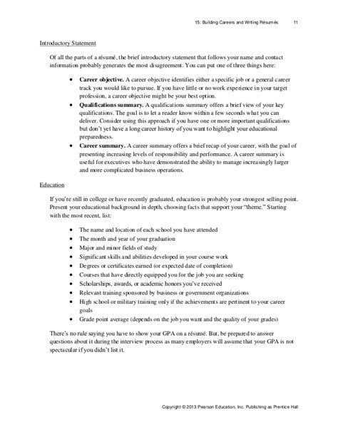 resume introductory statement exles resume ideas