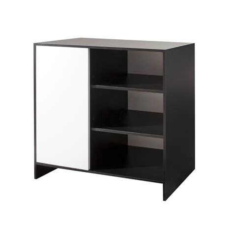 meuble de cuisine noir et blanc meuble bas de cuisine 1 porte 3 niches 95 cm noir blanc