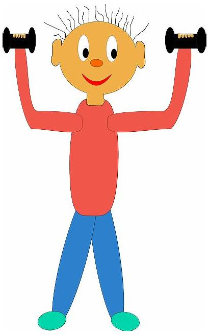 Spelling Exercises Words Cartoon Lifting Exercising Weights