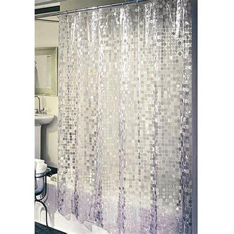 cell home fashions disco vinyl shower curtain silver