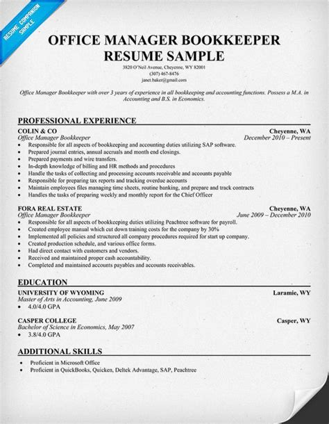 office manager bookkeeper resume sles across all