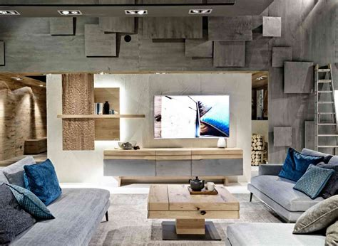 mobilier haut de gamme contemporain meuble tv ch 234 ne massif meuble t 233 l 233 ch 234 ne clair design avec fa 231 ade galb 233 e