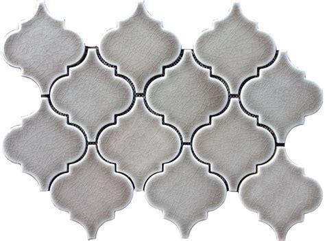 Dove Gray Arabesque Glazed Porcelain Mosaic Tile   The