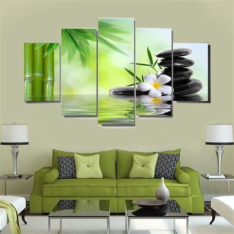 Perfect for home decor, children's room or your office wall. 5 Panel Canvas Wall Art   Massage Hot Stone and White Flower   PanelWallArt.com