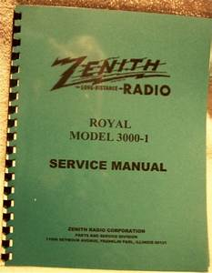 Zenith Royal 3000-1 Service Manual - For Sale