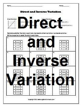 Direct And Inverse Variatio By Algebra Funsheets  Teachers Pay Teachers