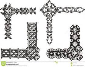 Cornici Celtiche Angoli Decorativi Celtici Nodo Illustrazione