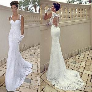 vestido de noiva sexy spaghetti strap sweetheart ivory With mermaid backless wedding dress