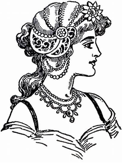 Nouveau Lady Ladies Pyrography Clip Patterns Fairy
