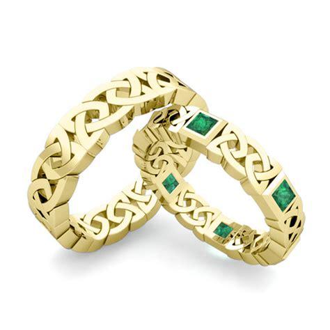 wedding band  gold princess cut emerald