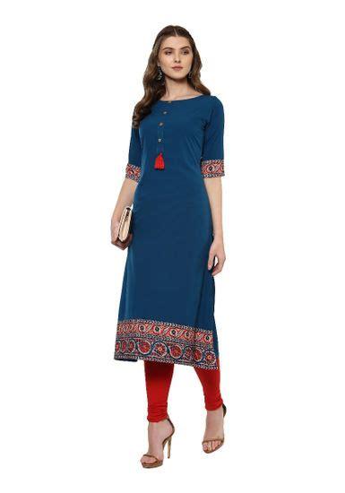 janasya womens turquoise crepe   solid kurta  rs