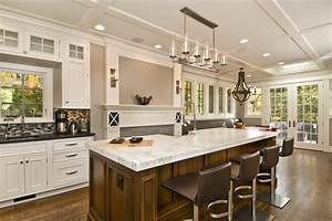 Large Kitchen Island Designs With Seating And White