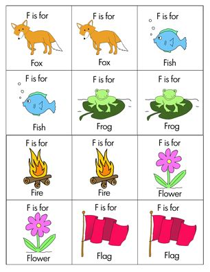 animals that start with the letter f glimmercat education introducing letter f 20456 | Letter F Matching Game