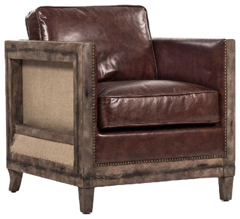 Top Grain Leather Club Chair by Beck Industrial Rustic Lodge Masculine Square Frame Brown
