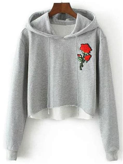 Rose Embroidered Cropped Hoodie in Gray | Sammydress.com