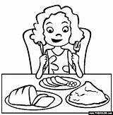 Dinner Easter Coloring Pages Eating Eat Table December sketch template