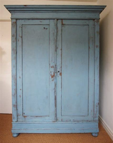 mid  century antique painted pine double wardrobe