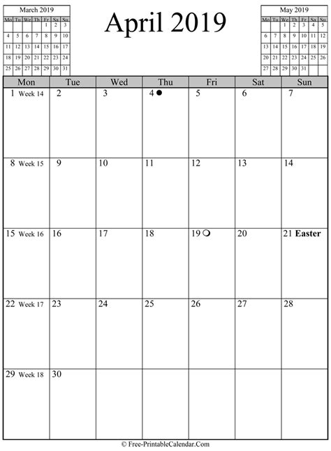 april  calendar vertical layout