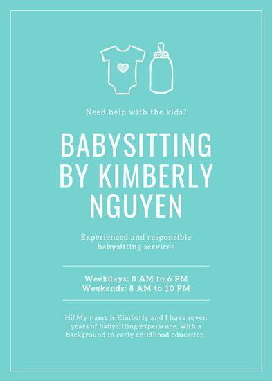 customize  babysitting flyer templates  canva