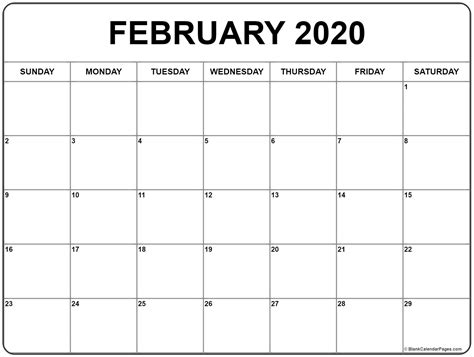 printable february calendar calendar