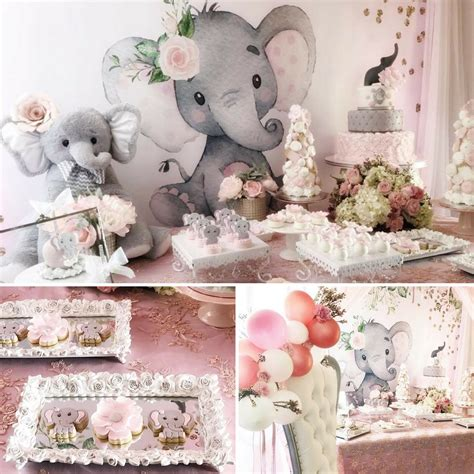 pink  gray elephant baby shower baby shower ideas