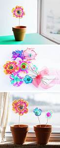 recycled plastic flowers and science project left