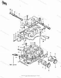 Kawasaki Motorcycle 1977 Oem Parts Diagram For Cylinder Head  Covers   U0026 39 75 S